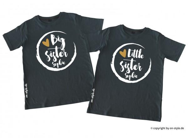 Kombi Geschwistershirts - Big Sis, Little Sis mit Gold