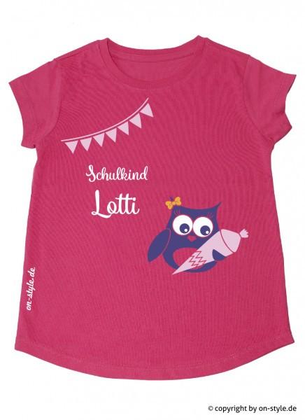 T-Shirt Mädchen - Schulanfang Eule