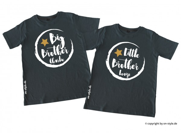 Kombi Geschwistershirts - Big Bro, Little Bro mit Gold