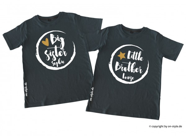 Kombi Geschwistershirts - Big Sis, Little Bro mit Gold
