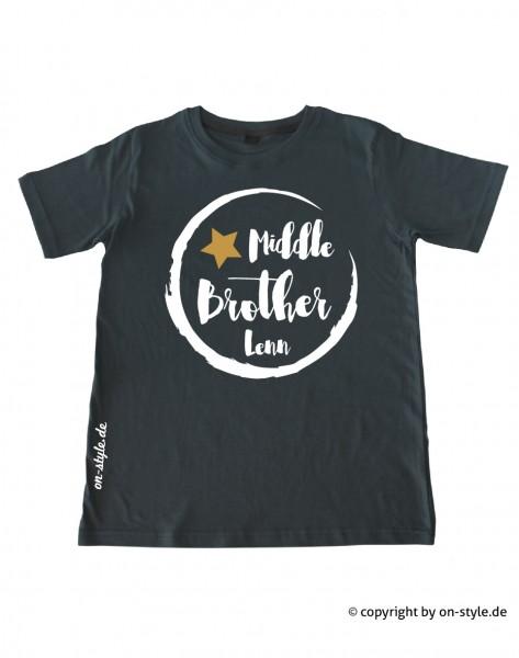 Geschwistershirt - Middle Bro mit Gold