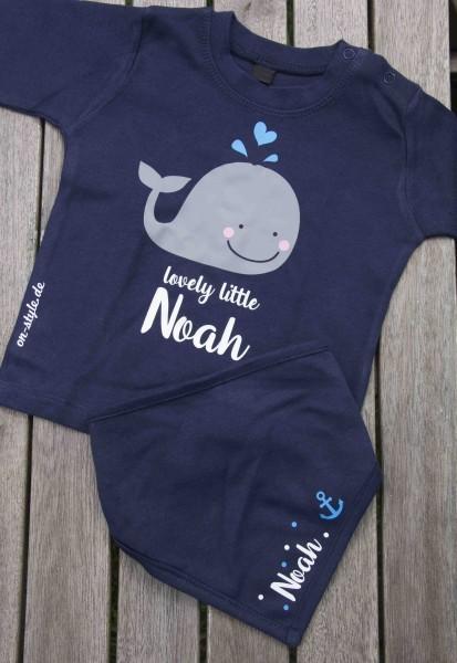 Kombi Langarm Shirt und Halstuch - kleiner Wal